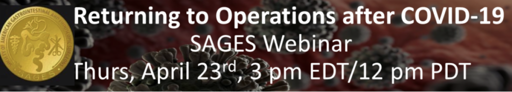 SAGES Webinar April 23 3pm Eastern