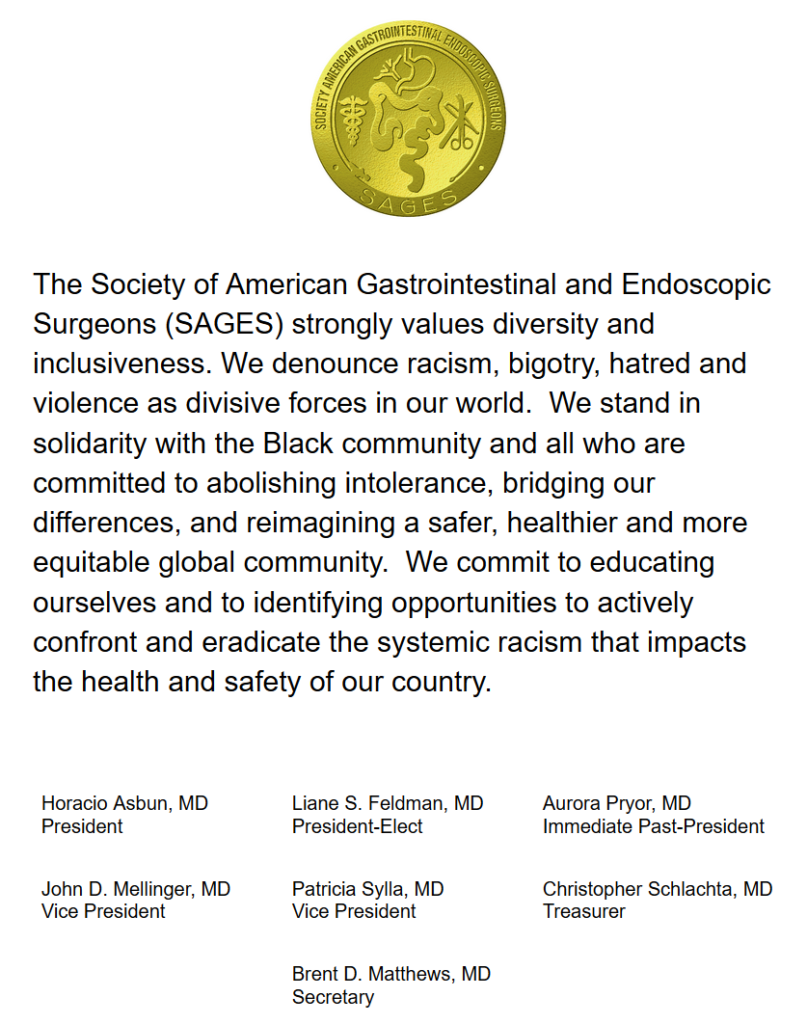SAGES Statement Opposing Racism