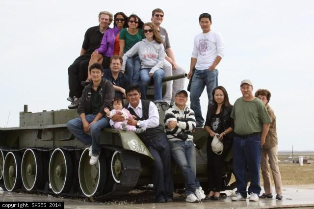 Mongolia training team with local surgeons on tank