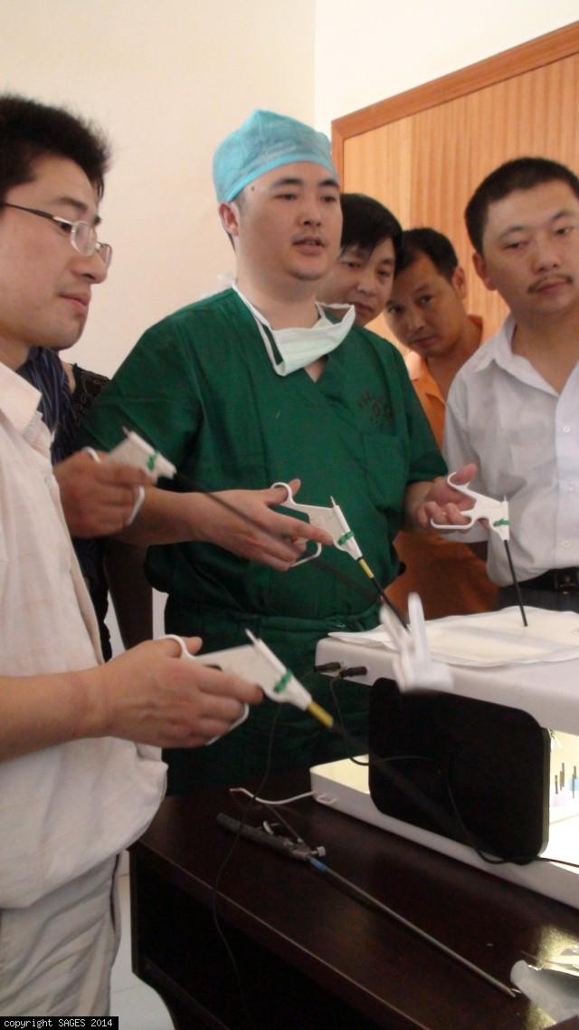 Chinese surgeons on FLS training box