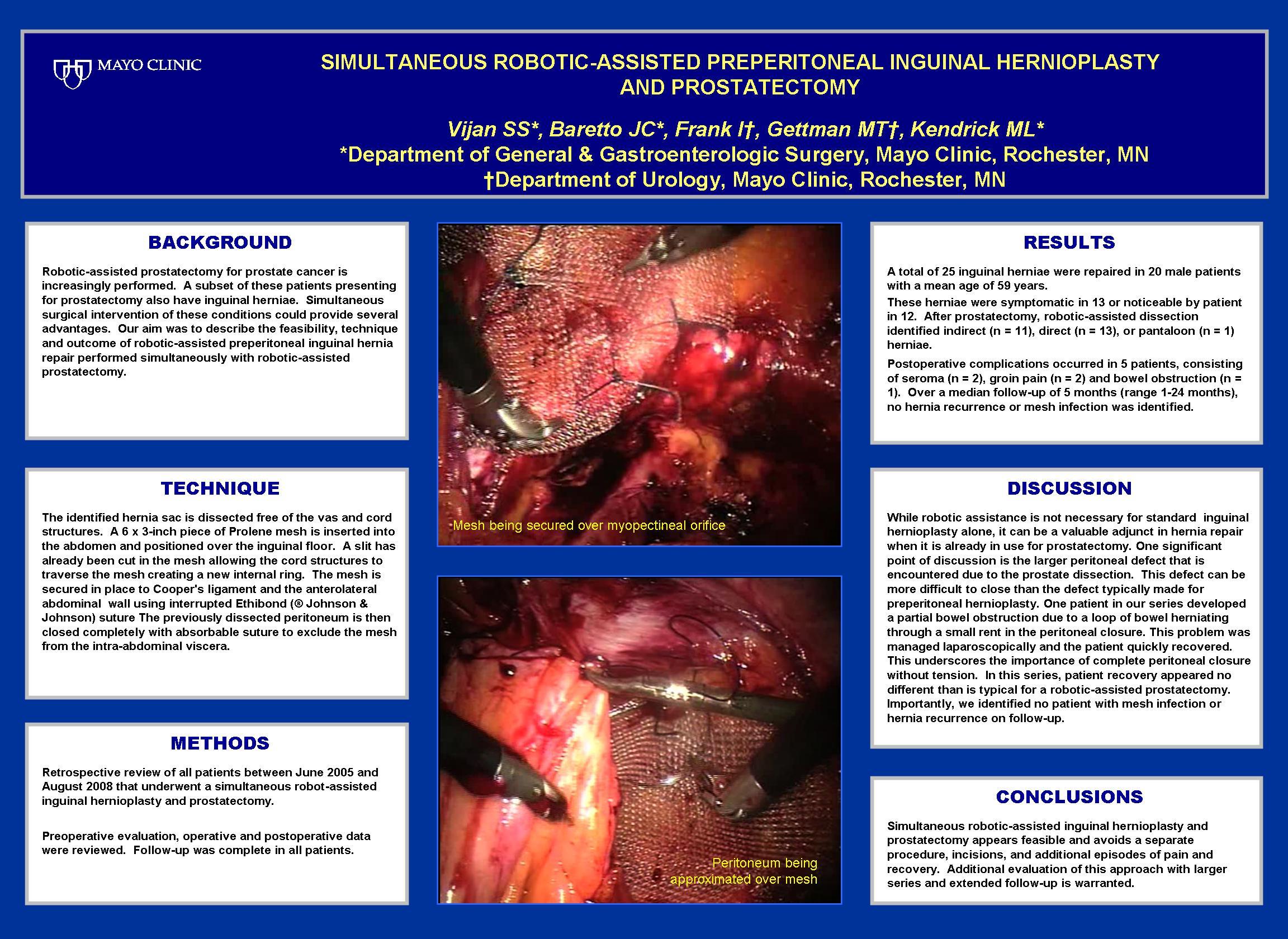 Simultaneous Robotic Assisted Preperitoneal Inguinal Hernioplasty